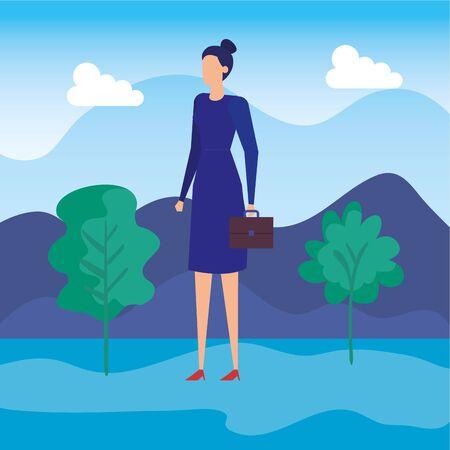 elegant businesswoman worker in the field vector illustration design 向量圖像