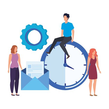 group of people with time clock vector illustration design Vettoriali