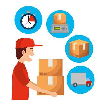 worker of delivery service lifting boxes and set icons vector illustration design Ilustracja
