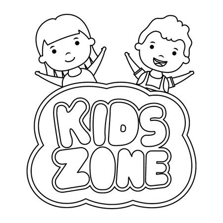 cute little children couple with kids zone lettering vector illustration design