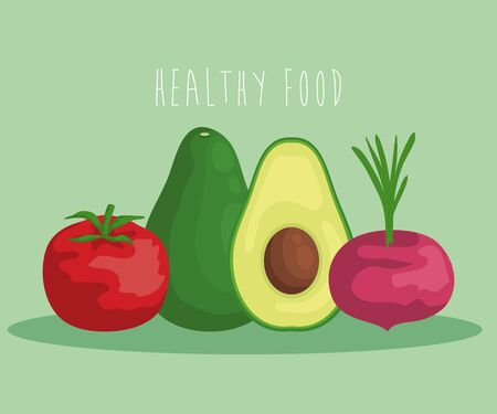 fresh avocado fruit with tomato and onion vegetables to healthy food vector illustration Ilustracja