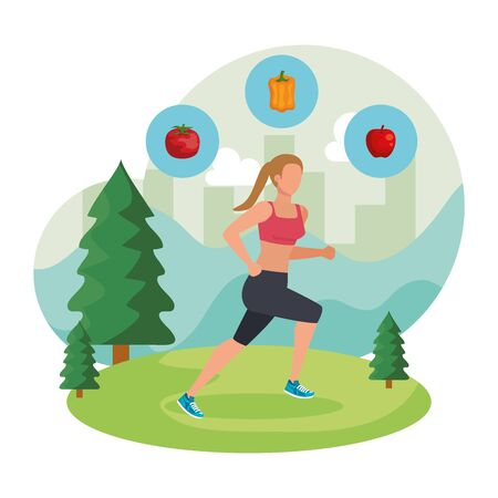athletic woman running in the landscape with healthy icons vector illustration