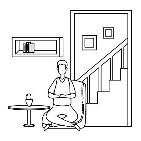 man in living room place scene vector illustration design