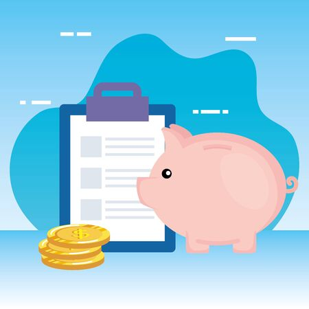 coins money dollars with checklist and piggy vector illustration design
