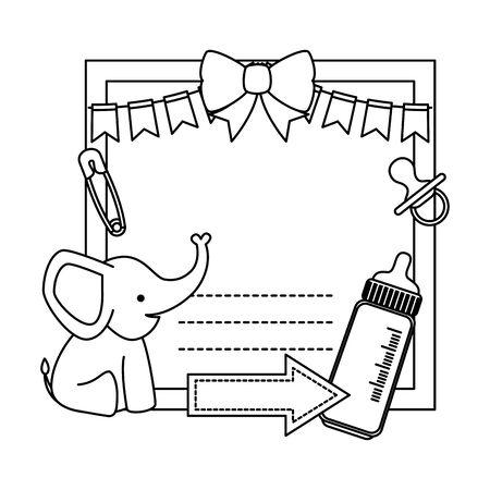 baby shower card with elephant and bottle milk vector illustration design Foto de archivo - 133651827