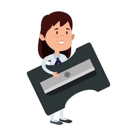 happy student girl with sharpener supply vector illustration design