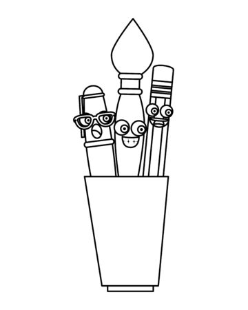 pencil holders with supplies   characters vector illustration design