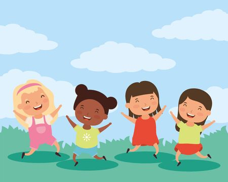group of little interracial girls characters vector illustration design Illustration