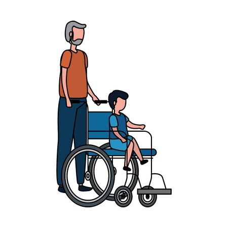 cute grandfather with grandson in wheelchair vector illustration design