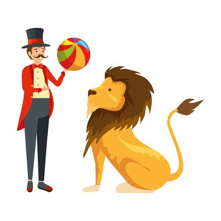 circus magician with ball and lion vector illustration design Illusztráció