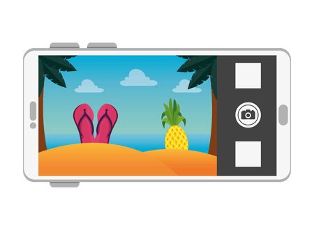 smartphone with summer beach scene vector illustration design Illusztráció