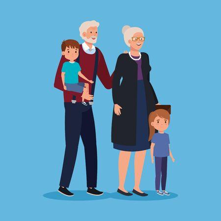 grandparent with boy and girl kids together over blue background, vector illustration