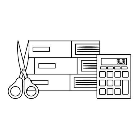 pile textbooks with scissor and calculator vector illustration design Illusztráció