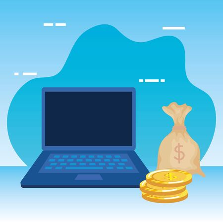 coins money dollars with laptop and sack vector illustration design Ilustracja