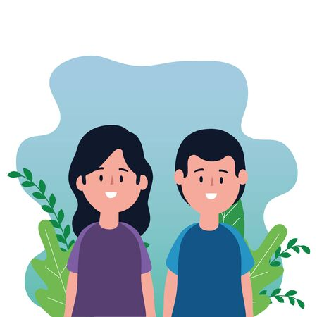 cute lovers couple on the park characters vector illustration design