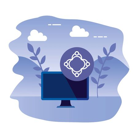 desktop computer device with teamwork vector illustration design