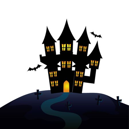 haunted castle of halloween in cemetery vector illustration design