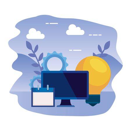Ordinateur de bureau avec ampoule et calendrier vector illustration design