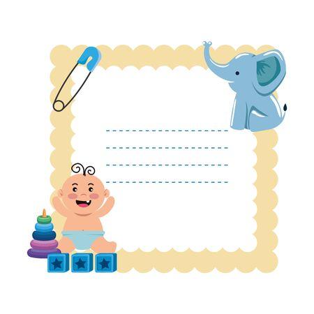 baby shower card with set icons vector illustration design Foto de archivo - 133678584
