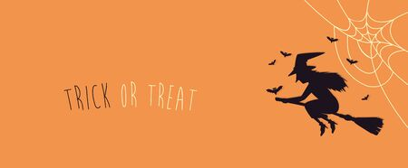 poster halloween with witch flying in broom vector illustration design