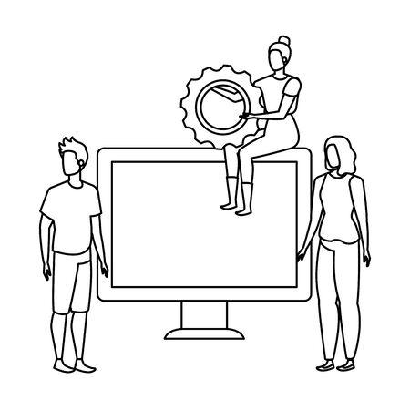 Gruppe von Menschen mit Desktop-Computer-Vektor-Illustration-Design