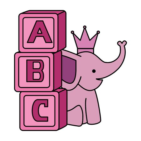 cute little elephant with blocks alphabet vector illustration design Foto de archivo - 133678928
