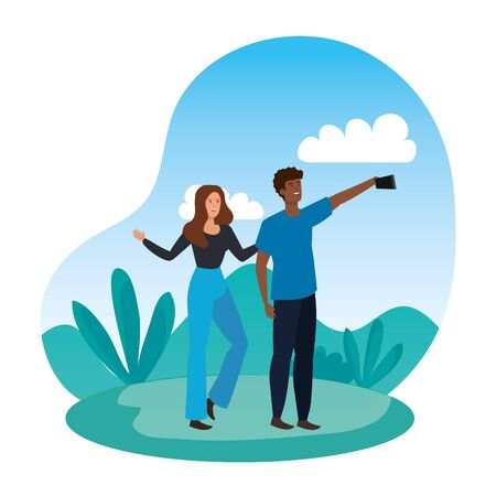 interracial lovers couple taking a selfie in the camp vector illustration design Ilustracja