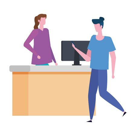 woman working in airport with computer and man traveler vector illustration Иллюстрация