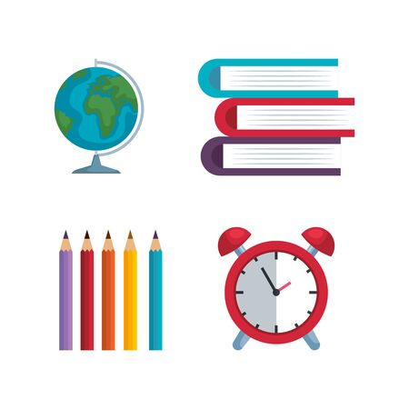set of global map with pencils colors and books with clock alarm over white background vector illustration Ilustração