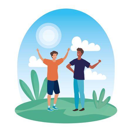 interracial young men friends celebrating in the park vector illustration design Illusztráció