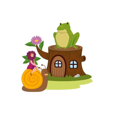 woman disguised of flower with tree house and toad vector illustration design