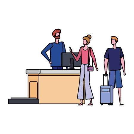 man working in airport with couple travelers vector illustration design