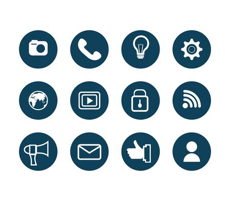 bundle of social media set icons vector illustration design Ilustracja