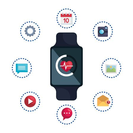 smartwatch with cardiology and set applications vector illustration design Ilustracja