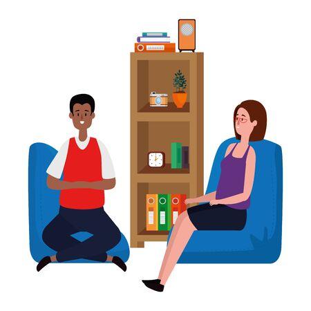 couple in living room place scene vector illustration design