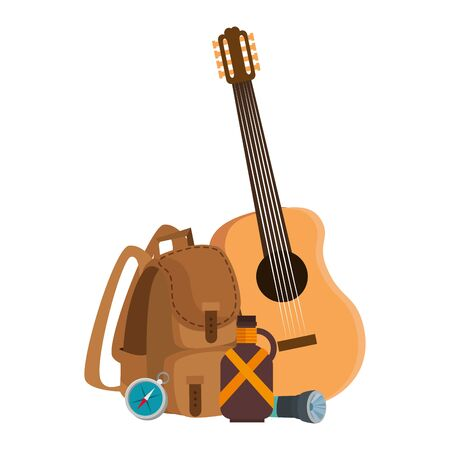camping travel bag with guitar and canteen vector illustration design