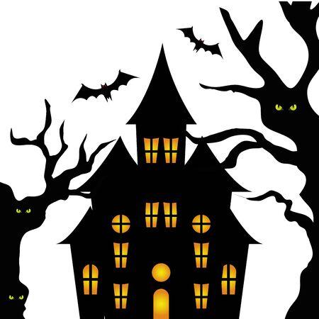 Spukschloss mit Baum-Halloween-Vektor-Illustration-Design