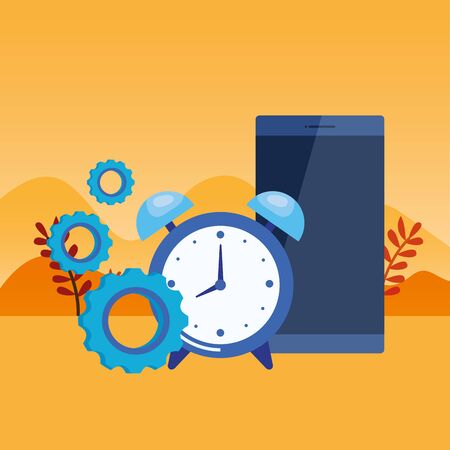 alarm clock with smartphone device vector illustration design Banco de Imagens - 133770647