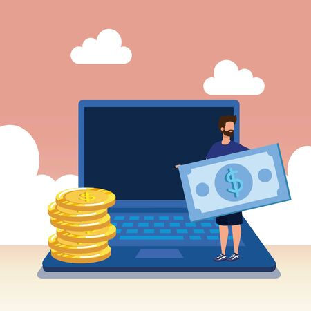 young man with laptop and money vector illustration design