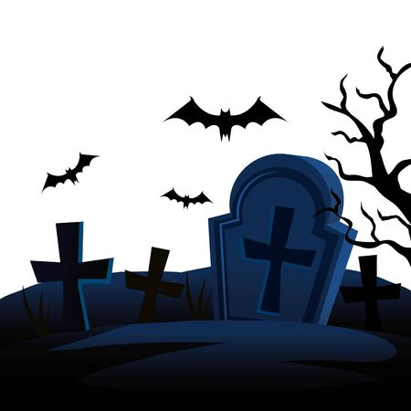 halloween tombs with bats flying vector illustration design