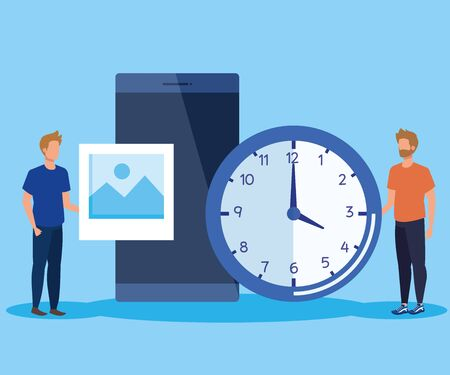 men teamwork with smartphone technology and clock over blue background, vector illustration