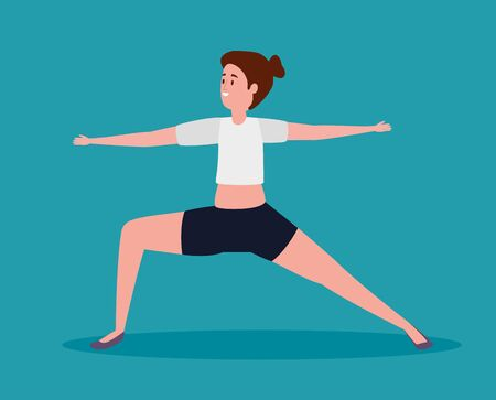 woman practice yoga meditation exercise over blue background, vector illustration Archivio Fotografico - 133770663