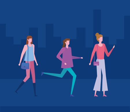 women with casual clothes and hairstyle with purse over blue cityscape background, vector illustration Archivio Fotografico - 133770688