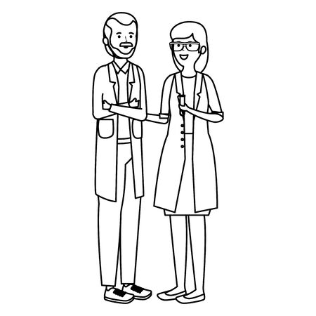 young professional doctors workers characters vector illustration design Ilustrace