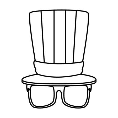 united states of america flag and sunglasses vector illustration design