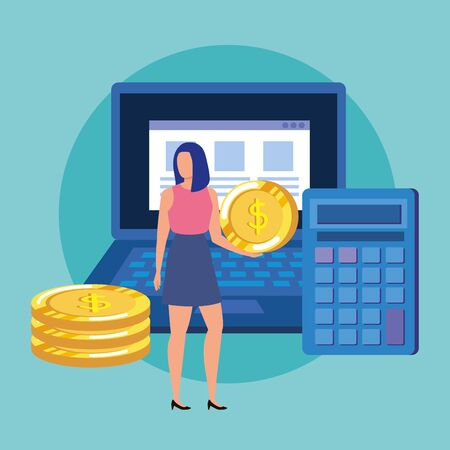 young woman with coins and laptop character vector illustration design