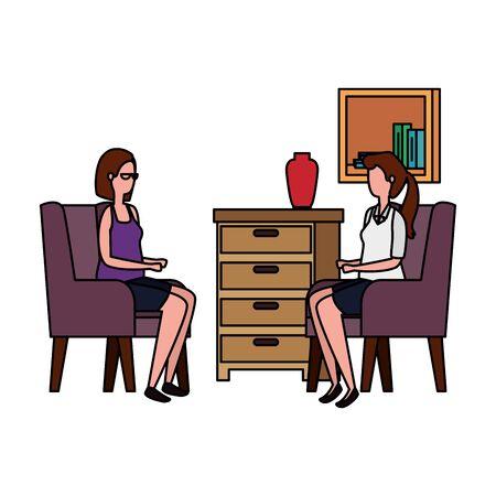 women in living room place scene vector illustration design