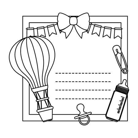 baby shower card with balloon helium and milk bottle vector illustration design Standard-Bild - 133834886