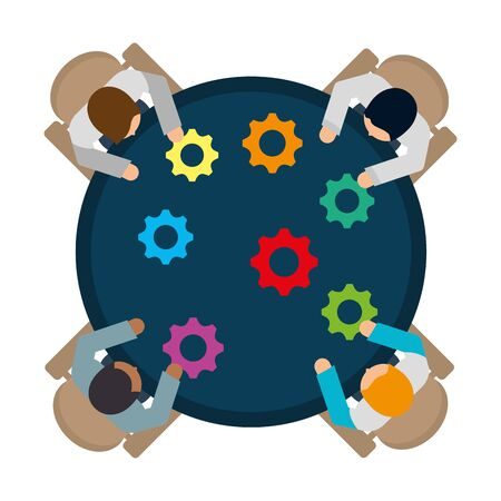 business workers with gears in the workplace vector illustration design Çizim