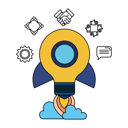 bulb light rocket start up with set icons vector illustration design Ilustração